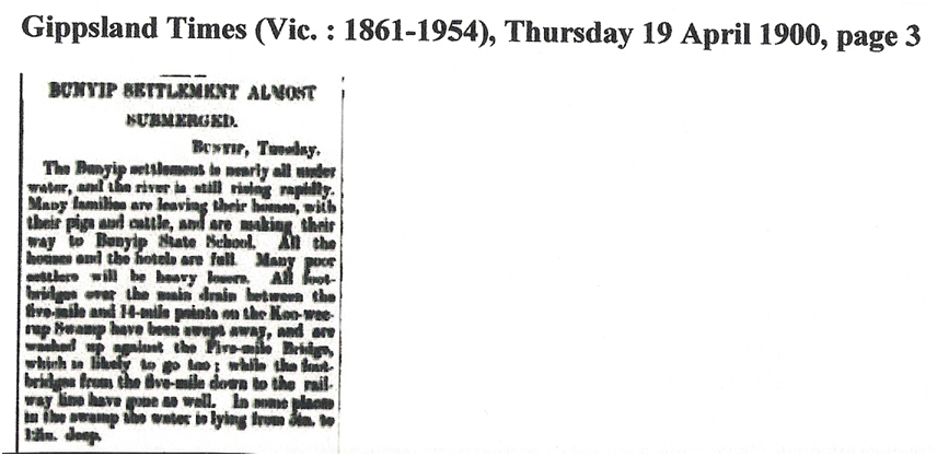 "From ""The Gippsland Times"" April 1900"